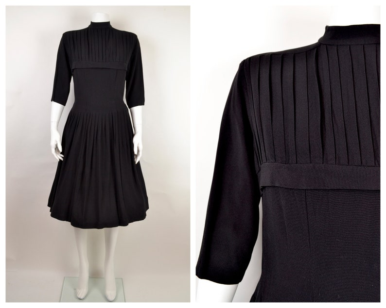1950s black dress with high neck and pleated bodice B39 W31 Sz image 0