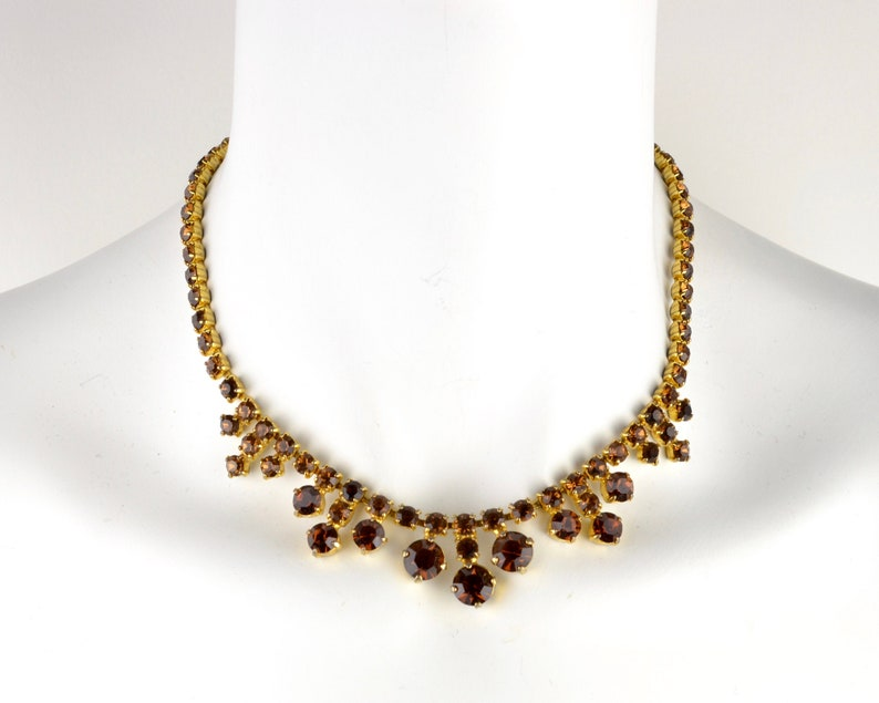 Vintage amber rhinestone necklace  gold tone brown graduated image 0