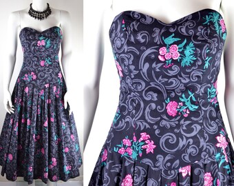 80s Laura Ashley strapless bustle evening dress Size S XS 6 8 gothic princess romantic cotton backless black grey pink vintage ball gown