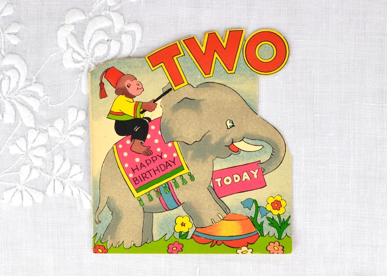 Vintage birthday card for child age 2 c1960s  Two Today image 0