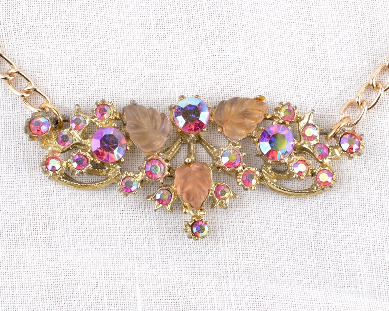 1960s pink necklace with lucite pieces and AB rhinestones  image 0