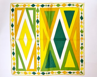 """60s bright yellow green geometric scarf signed by Gino Paoli w/ hand rolled edge 31"""" square acetate twill psychedelic harlequin print HRE"""