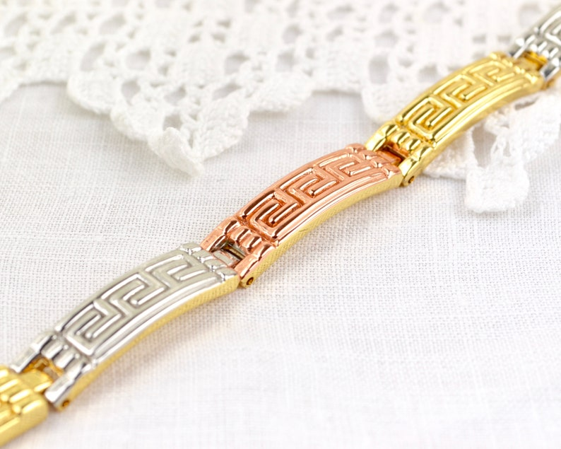Greek Key pattern panel link bracelet in three color metals  image 0