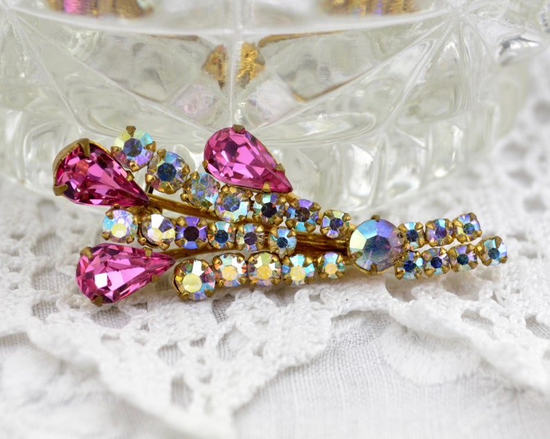pink AB rhinestone brooch 1950s-60s  floral spray teardrop image 0