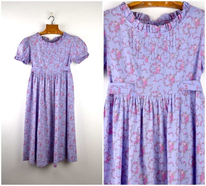 70s Laura Ashley cotton child or teen lilac dress  floral image 0