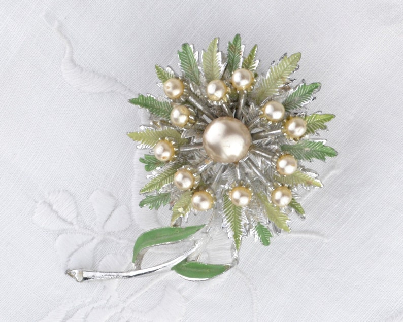 1960s flower brooch  green cold painted large floral pin with image 0