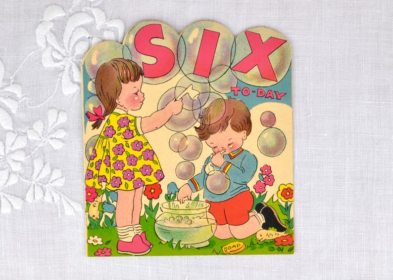 Vintage birthday card for child age six 1960s  Six Today image 0