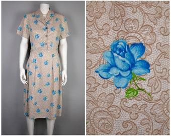 50s cotton shirt waist day dress B42 W33 in blue roses lace novelty print | shirtwaister button front short sleeves L-XL summer vintage