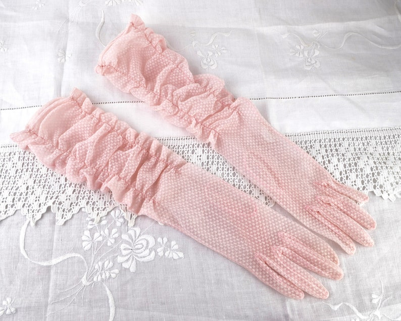 1960s pink gloves elbow length with ruched cuffs Size 7 M-L  image 0