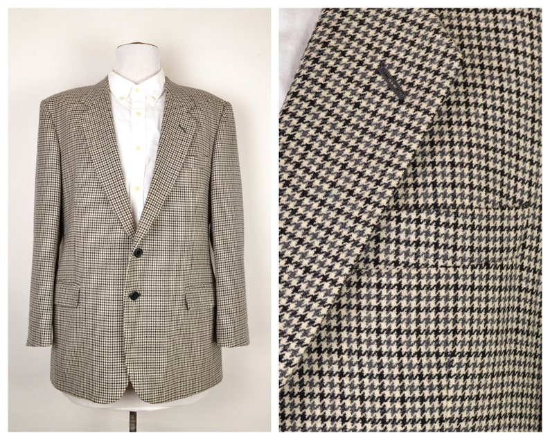 Tweed jacket 44S Short  grey black white houndstooth check image 0