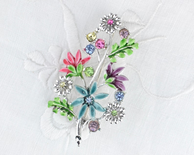 Vintage flower brooch 50s 60s  multi coloured cold painted image 0