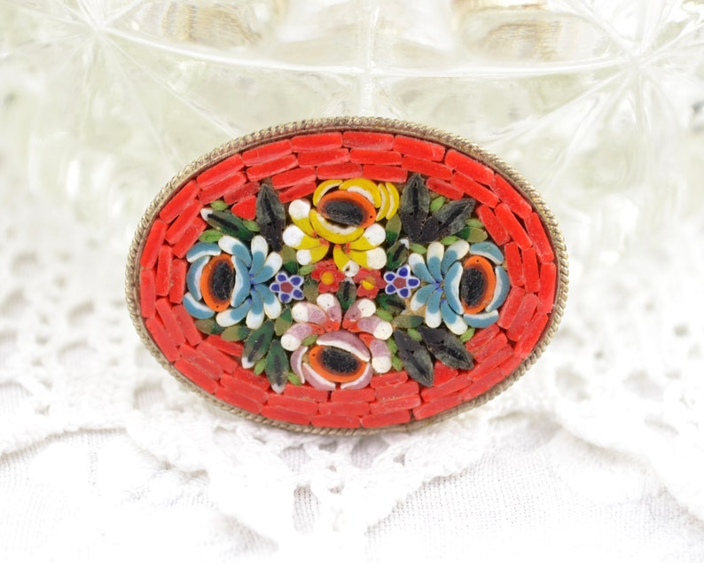 Micro mosaic brooch  Italian Mid Century micromosaic red image 0