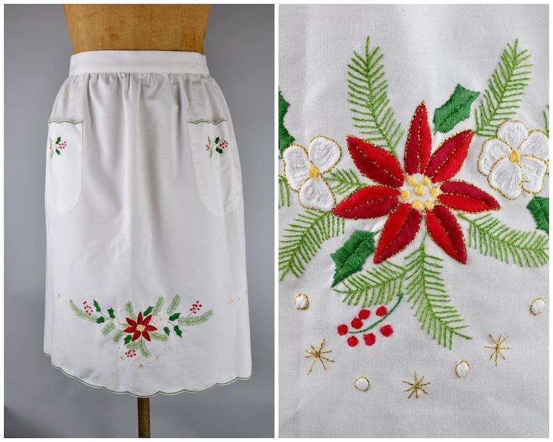 Christmas apron  vintage white half apron with winter foliage image 0
