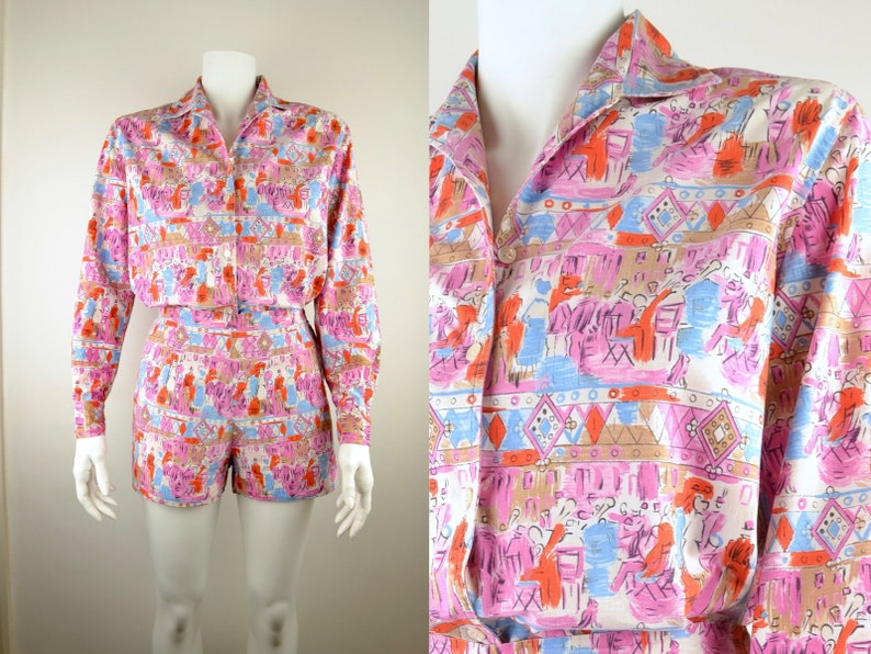 1950s shorts & shirt beach set in cotton novelty print Size S image 0