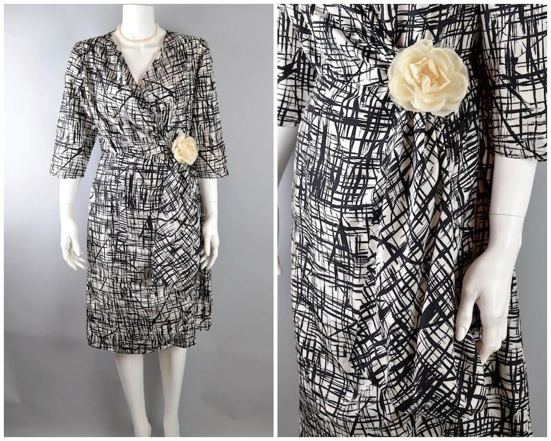 1960s silk dress M-L B40 W29 sarong wrap style black & white image 0