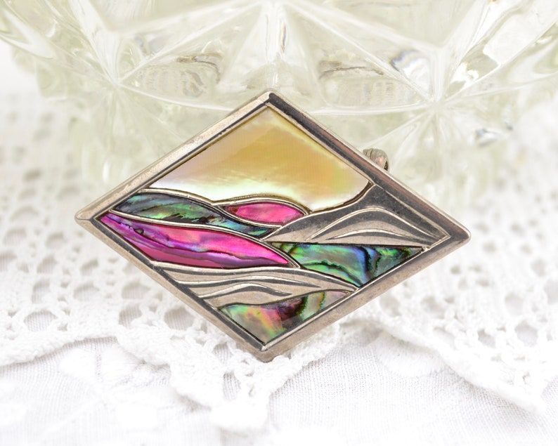 Abalone shell landscape picture brooch  cream green pink image 0