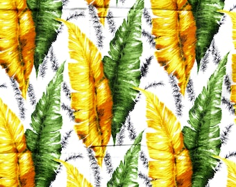"50s 60s barkcloth fabric feather banana palm leaf print 44x52"" Mid century green yellow white cotton textured curtain panel blind MCM tiki"