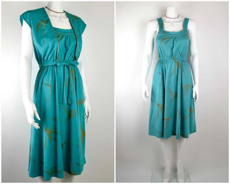 1970s green dress with bolero jacket Size XS-S teal and gold image 0