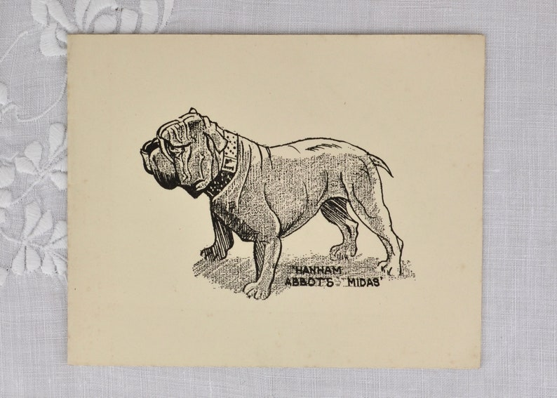 Vintage Christmas card c1950s with English bulldog image 0