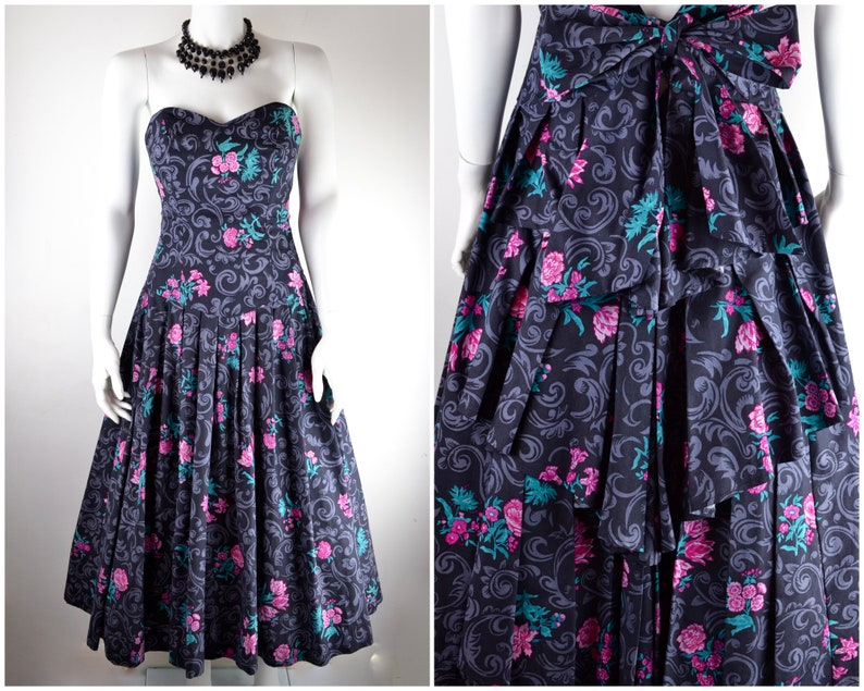 Laura Ashley dress  1980s strapless cotton ball gown with image 0