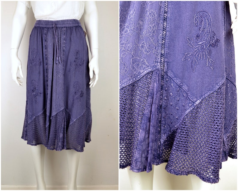 Purple hippy skirt elastic waist 1990s Unworn Deadstock NOS w/ image 0