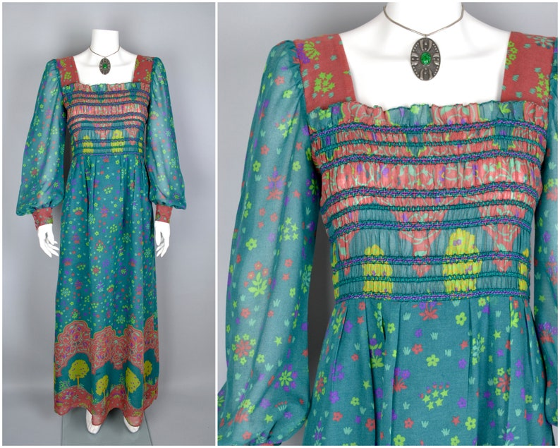 70s maxi dress in teal cotton blend trees & flowers border image 0