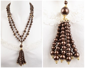 50s-60s chocolate brown double strand and beaded tassel necklace NOS goldtone spacers faux pearl statement pendant vintage deadstock