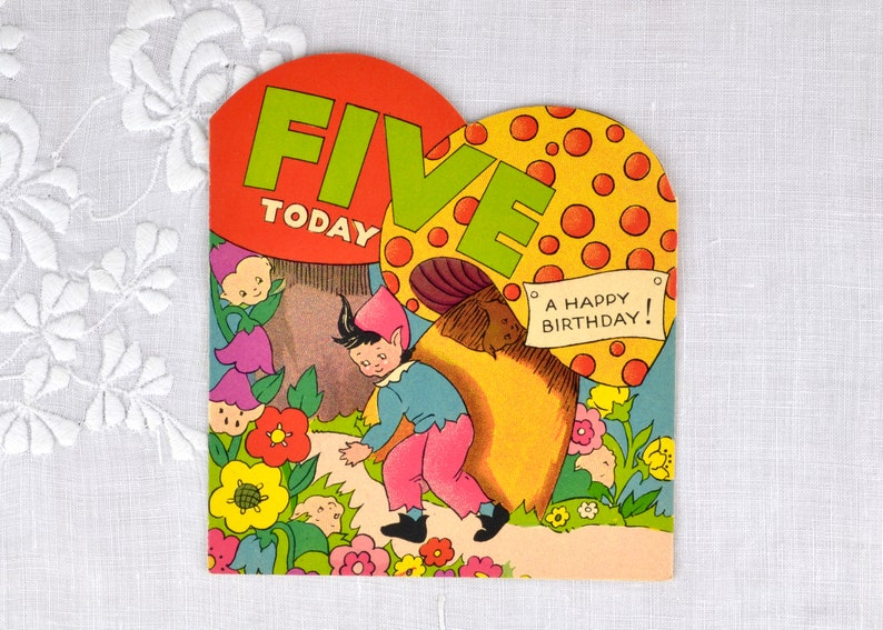 Vintage birthday card for child age five 1960s  Five Today image 0