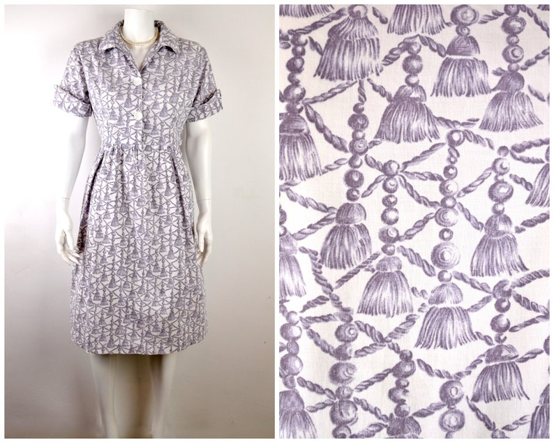 50s cotton dress in novelty print of tassels  shirtwaister image 0