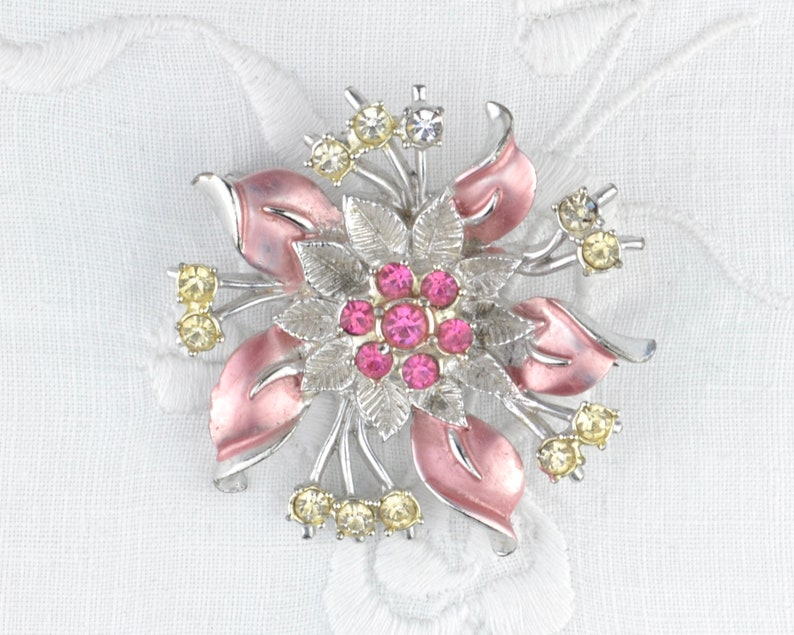 pink flower brooch  1960s cold painted enamel found floral image 0