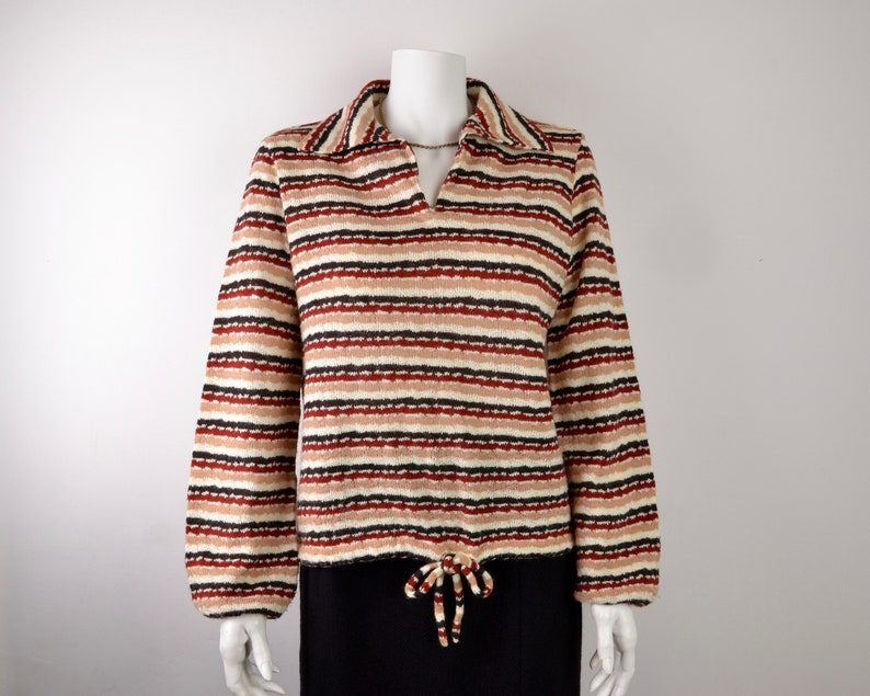 1970s striped sweater with balloon sleeves and wide collar  image 0