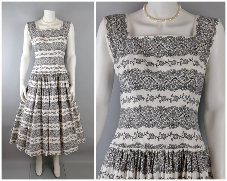 50s cotton dress in black & white lace print full skirt S M image 0