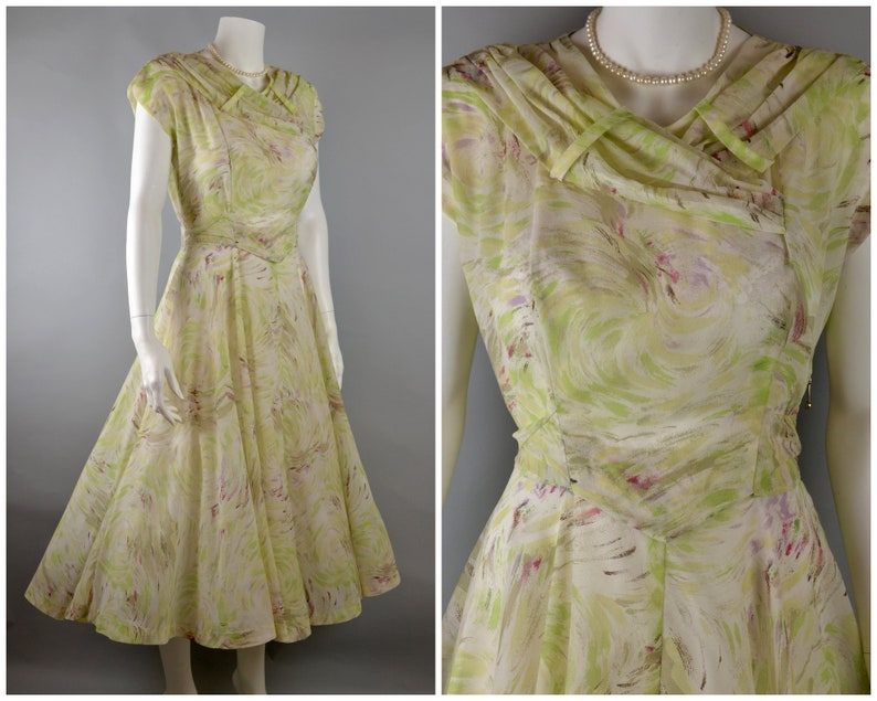 50s dress with full circle skirt in painterly swirl print S-M image 0