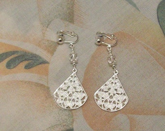 Elegant Silver Filigree Dangle~ White Pearl or Czech Faceted Glass Clip On Earrings or Pierced Many Colors Available