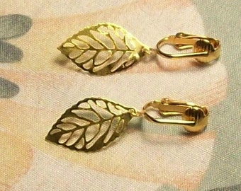 Lightweight Gold or Silver Leaf Clip On Earrings or Pierced