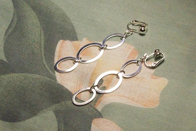 Silver Triple OvalDangle Clip on or Pierced Earrings image 0