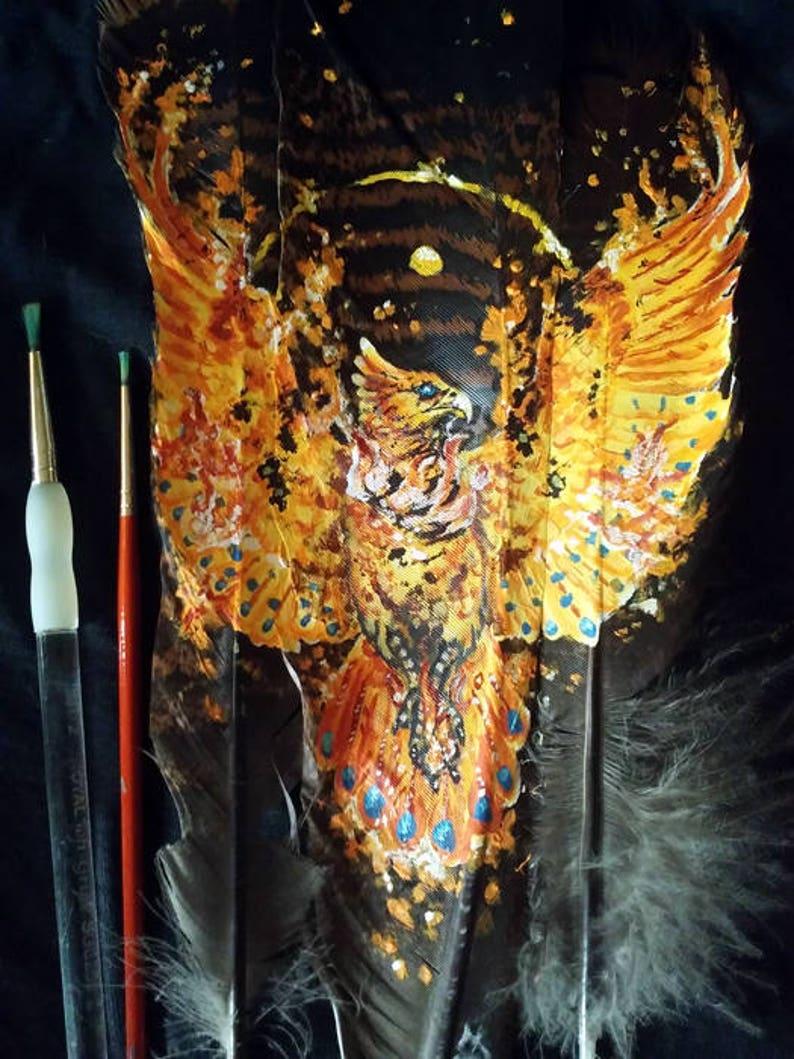 d684ff33e87c4 Summer's End Phoenix Original Feather Painting Firebird Fantasy Bird Raptor  Art Gift