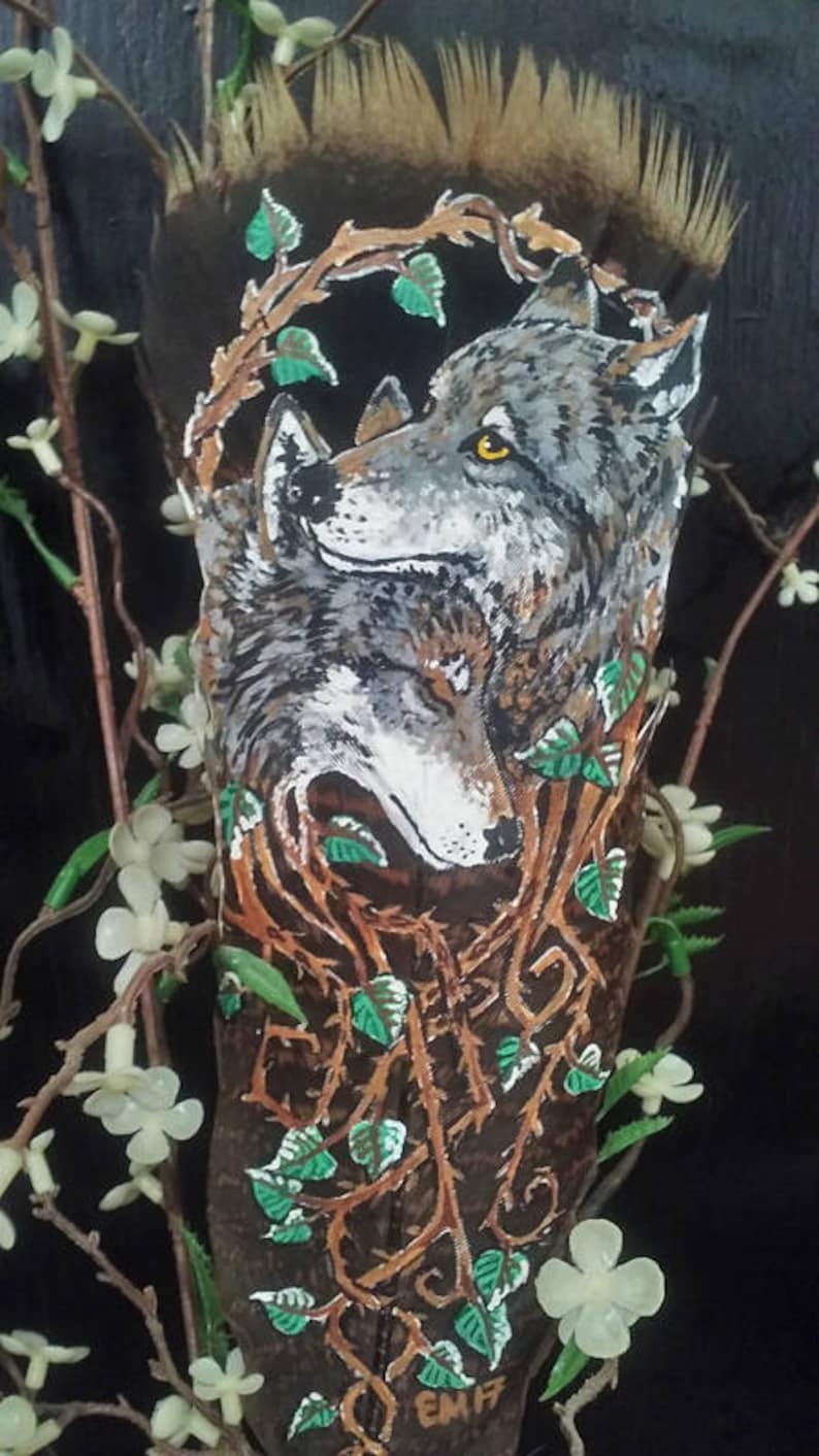 740b9361c68a6 Grow Together Wolf Wolves Feather Painting Nature Wildlife Plants Love  Original Art Anniversary Gift