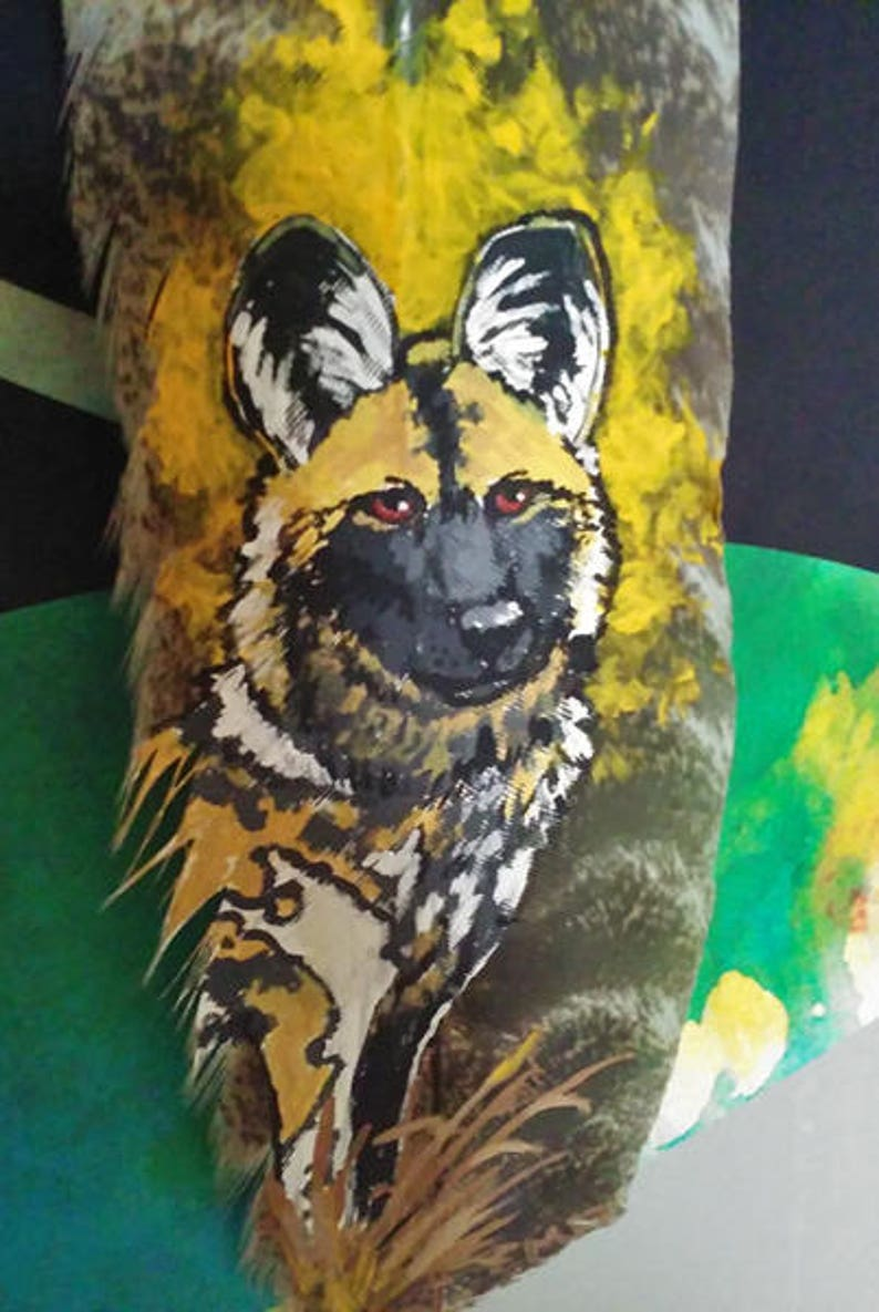 7c19e7f7bad8d Painted Sun African Wild Dog Original Feather Painting Nature Wildlife Gift  Art