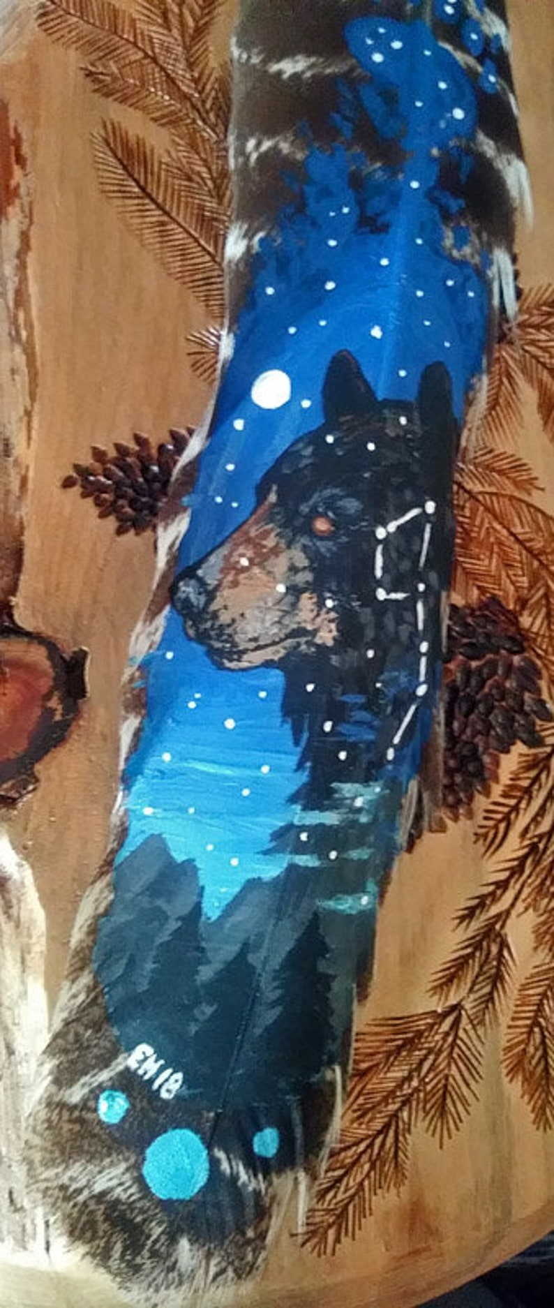 4fd8d2fb6ee05 Ursa Major Black Bear Original Feather Painting Constellation Star  Wilderness Forest Nature Art Gift