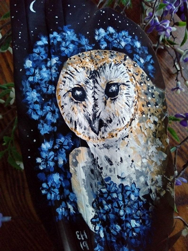 7a7dccdfc49a2 Whisper Barn Owl Original Feather Painting Bird Raptor Blue Flowers Night  Moon Magic Nature Wildlife Artwork Gift Decor