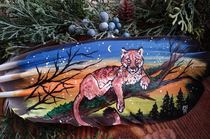 c7834e9067fbe Endless Sky Cougar Mountain Lion Puma Feather Painting Wilderness Nature  Mountain Sunset Tree Wildlife Animal Artwork Gift
