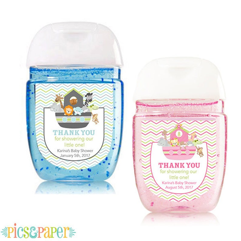 Mini Hand Sanitizer Labels Noah's Ark for Baby Shower with Animals in Blue  for Boy or Pink for Girl, Personalized with your Information