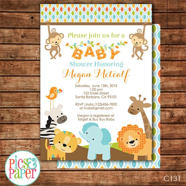 Jungle Safari Baby Shower Invitation Printable Safari Etsy