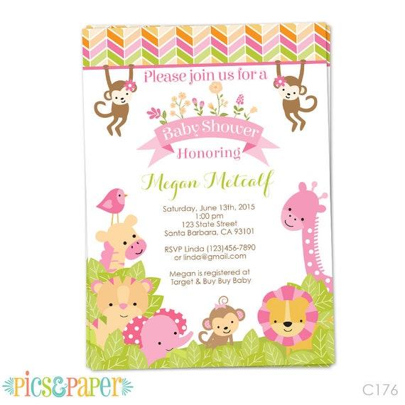 3-Piece Safari Baby Shower Invitation Girl Blush Pink Floral Rose Gold Jungle Baby Shower Invite It/'s a Girl Invite  Digital Printable 1371