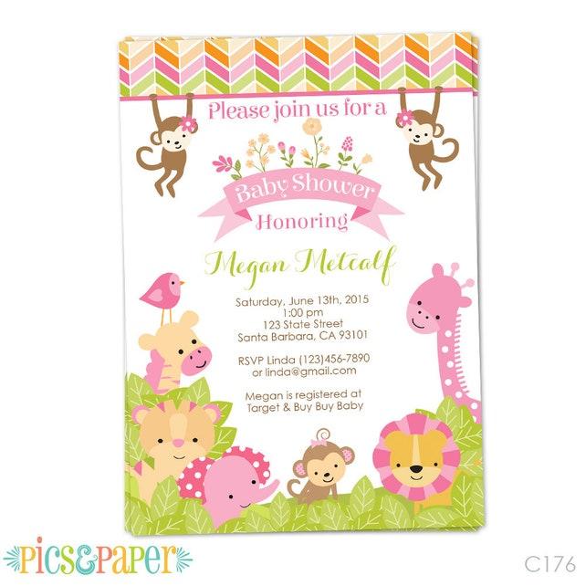 Pink safari baby shower invitation for girl in pink safari etsy image 0 filmwisefo