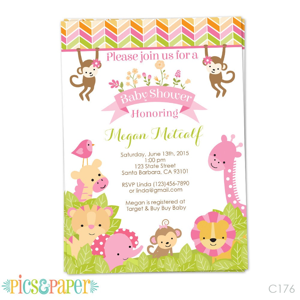 Pink Safari Baby Shower Invitation for Girl in Pink Safari | Etsy