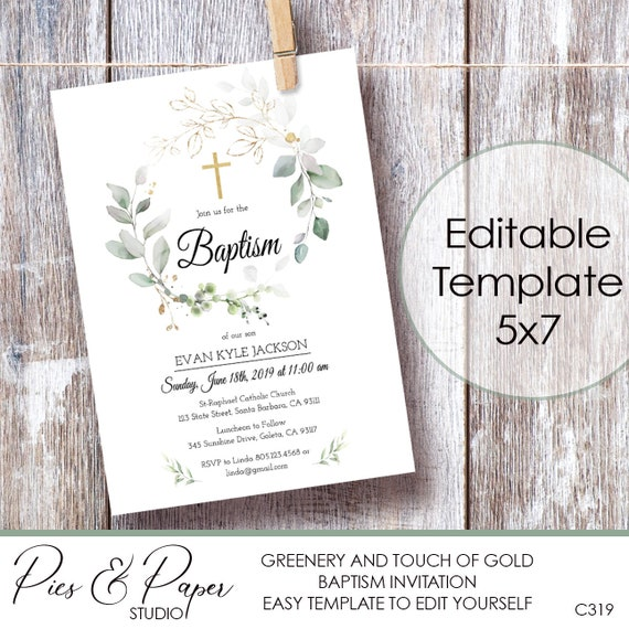 Greenery Leaves Wreath Baptism Invitation With Gold Cross Editable Template Christening Dedication First Communion Printable