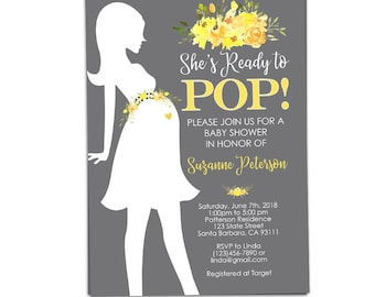 Cowgirl baby shower invitation shes ready to pop western baby shower invitation neutral gender in gray and yellow flowers silhouette of pregnant woman filmwisefo