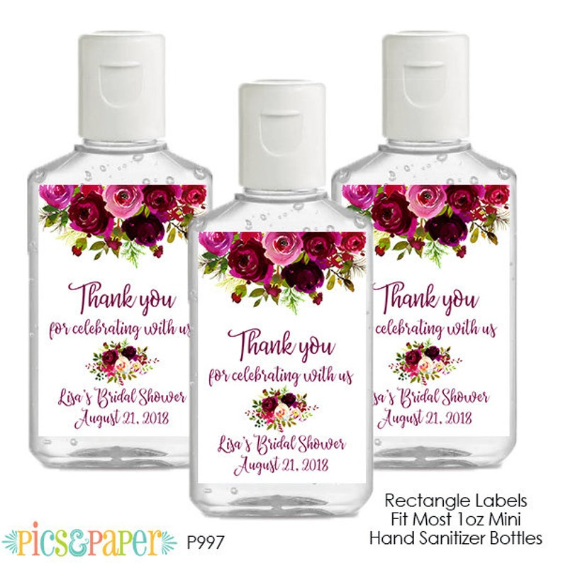 50 Personalized Mini Hand Sanitizer Wedding Bridal Baby Shower Party Favors